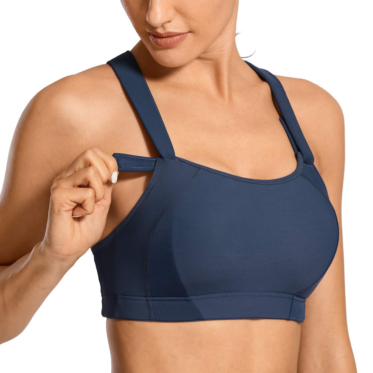 SYROKAN Women's Front Adjustable Lightly Padded Wirefree Racerback High Impact Sports Bra