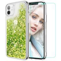 Maxdara Case for iPhone 11 Case Glitter Liquid for Women Girls (Screen Protector) Bling Shiny Sparkle Luxury Pretty Soft TPU Phone Case for iPhone 11 6.1 inches (Green)