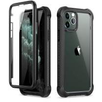 """Dexnor iPhone 11 Pro Case with Screen Protector Clear Rugged Full Body Protective Shockproof Hard Back Defender Dual Layer Heavy Duty Bumper Cover Case for iPhone 11 Pro 5.8"""" - Black"""