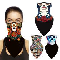 Face Mask Bandana,4 Pack Ear Loops Rave Face Balaclava Women Men Neck Gaiter Scarf Face Cover for Outdoors,Motorcycle,Biking
