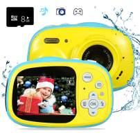 OUKITEL Q1 Kids Camera Waterproof and Digital Underwater Video Camcorder Action Camera Rechargeable with 8 GB SD Card for Age 3 Years and Up Boys and Girls Birthday Gift (Yellow)