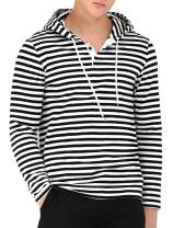 Lars Amadeus Men's Casual Knitted Long Sleeves Striped Lightweight Hoodies Sweatshirt