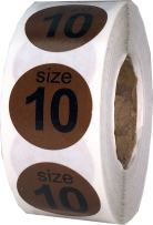 Shoe Size 10 Brown Stickers for Retail Clothing 0.75 Inch 500 Total Adhesive Labels