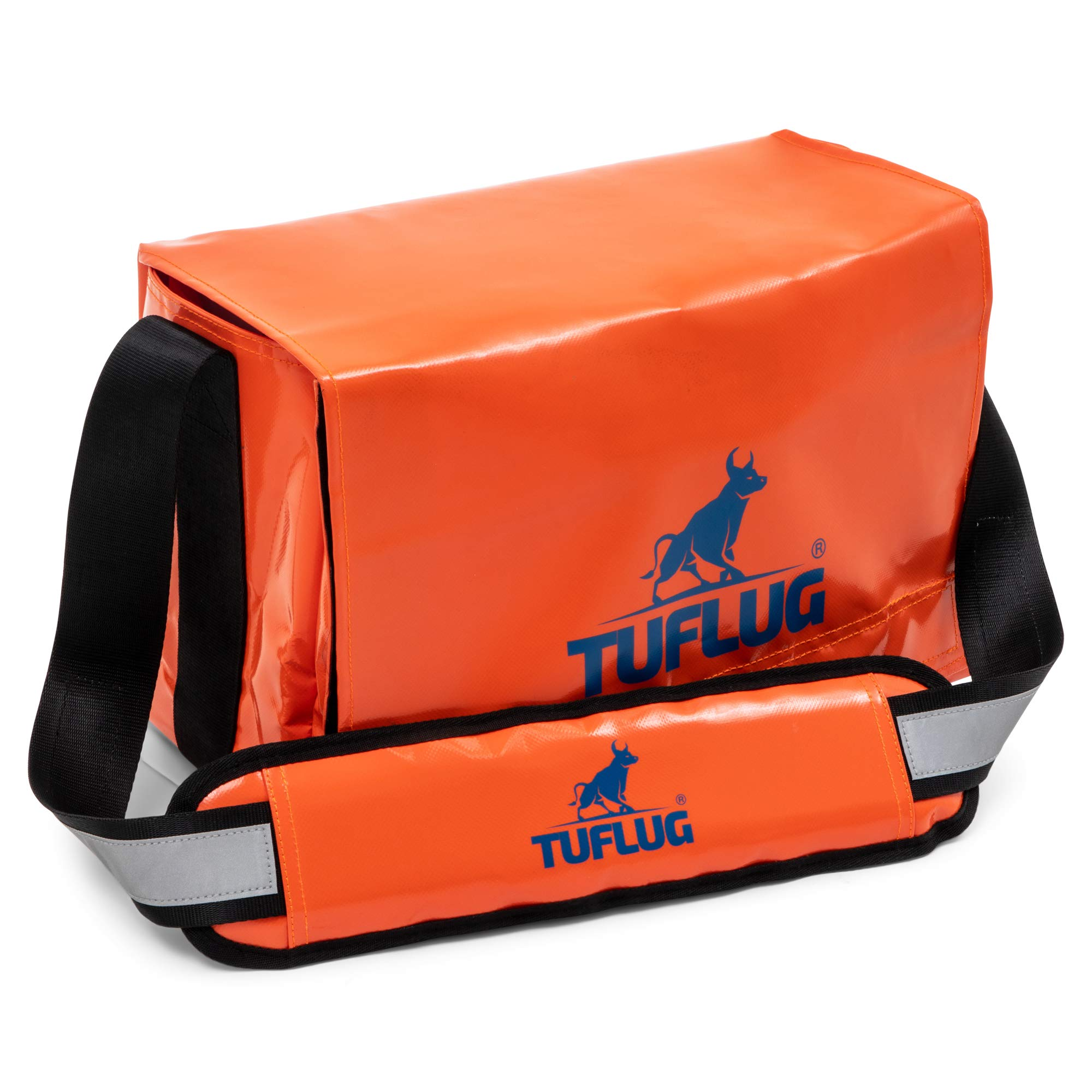 TUFLUG Tool Bag Organizer with Shoulder Strap, Orange, 14.5 x 9.5 x 8 inches   Heavy-Duty   Water-Resistant Equipment Bag for Carpenters, Electricians   Large Tool Caddy for Construction