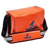 TUFLUG Tool Bag Organizer with Shoulder Strap, Orange, 14.5 x 9.5 x 8 inches | Heavy-Duty | Water-Resistant Equipment Bag for Carpenters, Electricians | Large Tool Caddy for Construction