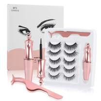 Magnetic Eyelashes with Eyeliner, 5 Pairs Upgraded 3D Reusable Magnetic Lashes Natural Look with Applicator, No Glue Needed