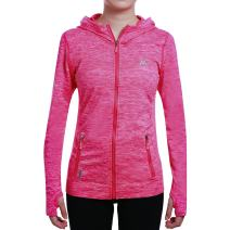 SEEU Womens Sports Jacket with Hood, Full-Zip Long Sleeve Activewear with Size Pockets