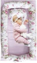Abreeze Baby Bassinet for Bed Pink Flowers Baby Lounger Co-Sleeping Baby Bed 100% Cotton Portable Crib for Bedroom/Travel 0-24 Months
