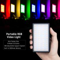 VILTROX Portable RGB Video Light 2500k-8500k Mini Pocket Size Vlogger on Camera Accessories with 8 Mode & 8 Scene, 360° Adjustable Support System with Built in Battery