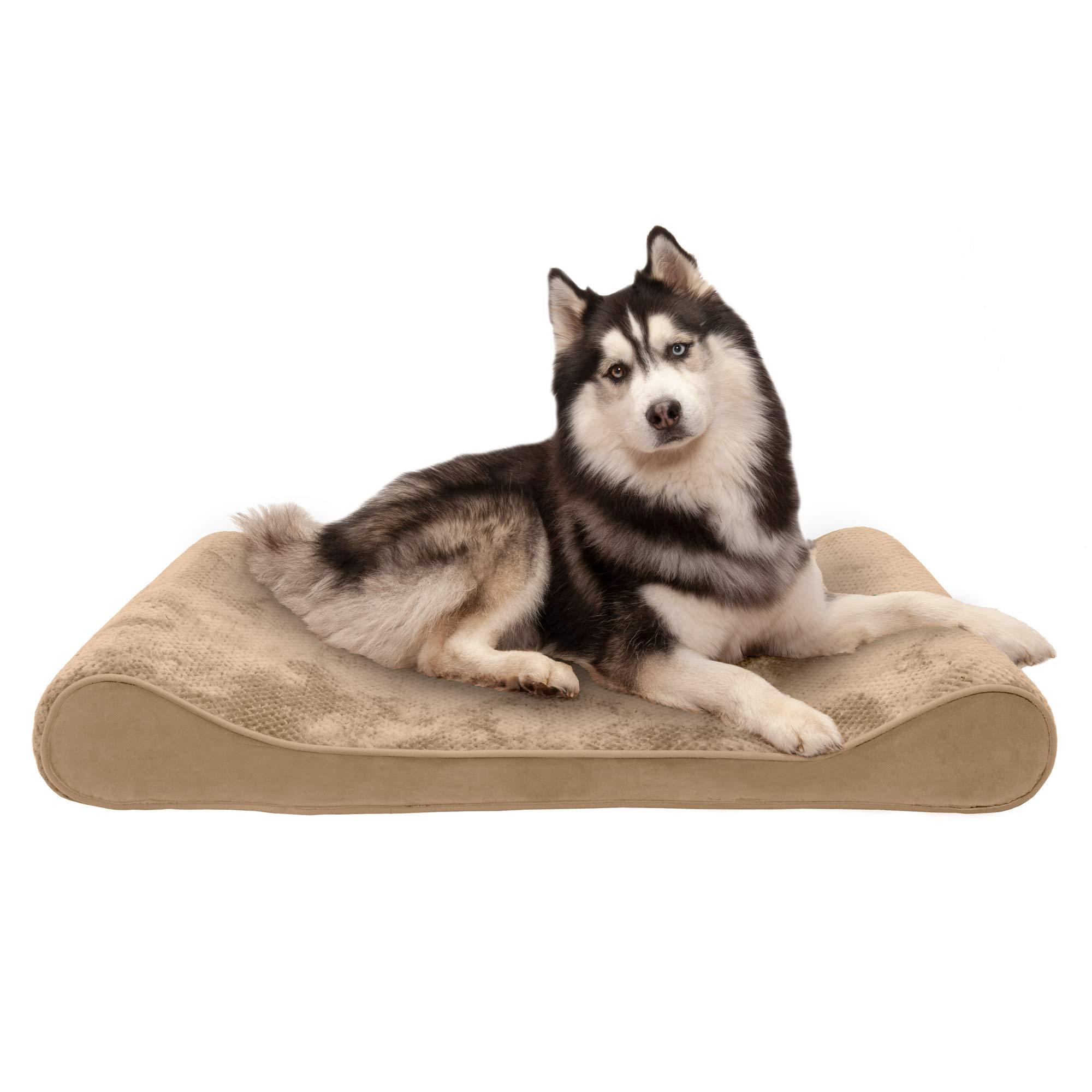 Furhaven Pet Dog Bed   Memory Foam Minky Plush & Velvet Ergonomic Luxe Lounger Cradle Mattress Contour Pet Bed w/ Removable Cover for Dogs & Cats, Camel, Jumbo