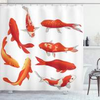 """Ambesonne Koi Fish Shower Curtain, Koi Fish Band Chinese Fortune and Power Tranquility Image, Cloth Fabric Bathroom Decor Set with Hooks, 70"""" Long, Orange White"""