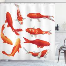 "Ambesonne Koi Fish Shower Curtain, Koi Fish Band Chinese Fortune and Power Tranquility Image, Cloth Fabric Bathroom Decor Set with Hooks, 70"" Long, Orange White"