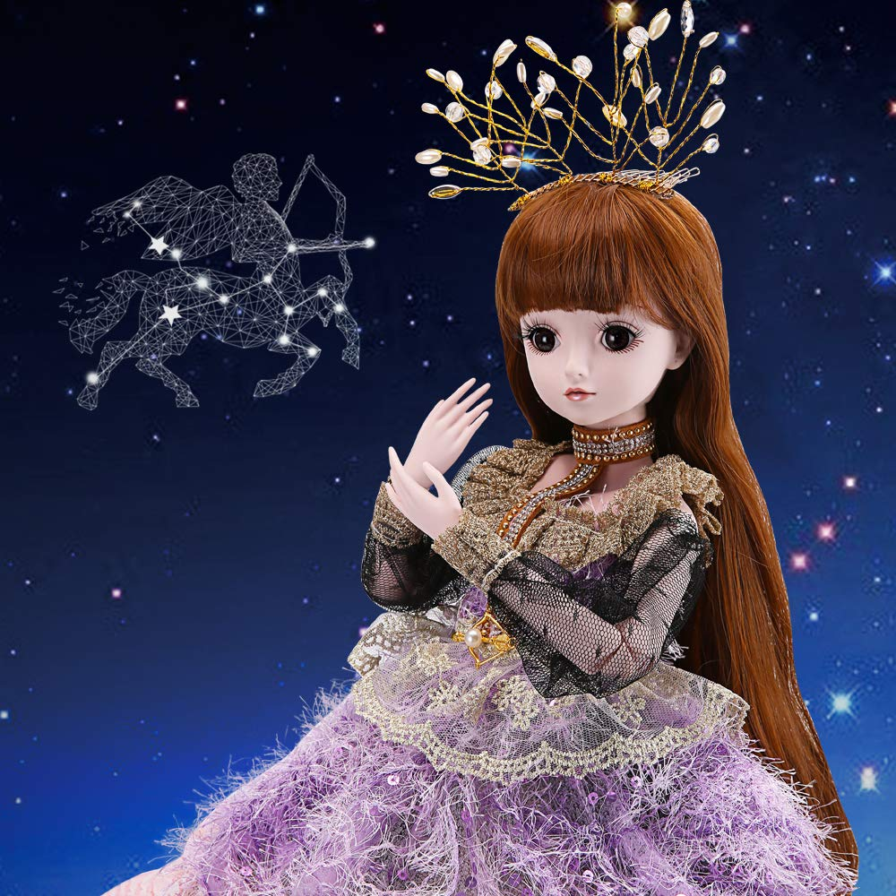 UCanaan 1/3 BJD Dolls 60cm Dolls Ball Jionted Doll Baby DIY Toy with Full Set Clothes Shoes Wig Makeup,Best Gift for Girls Twelve Constellations Dolls-Sagittarius