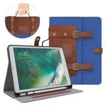 Dadanism iPad 9.7 Case 2018/2017, 9.7 Inch iPad 5th/6th Generation Case, Soft TPU Back Handbag Smart Stand Cover Case with Handle [Card Slots & Pencil Holder], Auto Sleep/Wake - Denim Blue & Brown