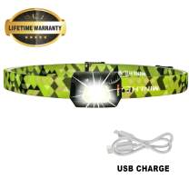 Ultra Lightweight Mini Hands Free Headlamp, Rechargeable Headlight with Motion Sensor, Multi Modes White LED Lamp, Adjustable Strap, IPX5 Waterproof, Bright Flashlight for Camping Running - Green