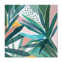 JAPO ART -Canvas Wall Art Contemporary Simple Fresh Tropical Green Leaf Painting Framed Prints Plants Watercolor Giclee Ready to Hang Home Decorations Office Decor Gift 24x24 Inch