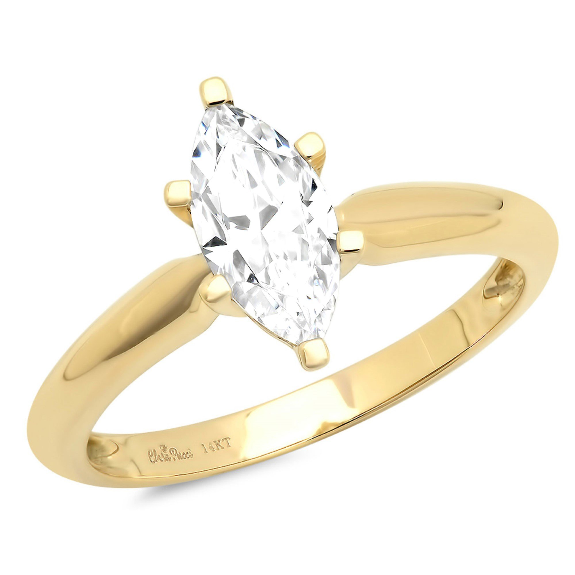 1.45ct Brilliant Marquise Cut Solitaire Highest Quality Moissanite Ideal D 6-Prong Statement Ring in Solid Real 14k Yellow Gold for Women