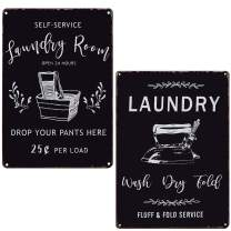 PXIYOU Laundry Room Open 24 Hours Wash Dry Fold Bundle Vintage Laundry Room Signs Rustic Wash Room,Bathroom Room Country Home Decor 2Pcs-8X12Inch