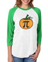 Halloween Pumpkin Pie Funny Pumpkin Pi 3/4 Women Sleeve Baseball Jersey Shirt