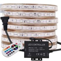 XUNATA LED Strip Lights, 9.9ft Remote Control RGB LED Rope Light, Flexible, Dimmable, Waterproof AC 110-130V 60 LEDs/M 5050 SMD LED Tape Light, for Home Ourdoor Building Decoration