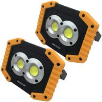 2pcs LED Work Light Rechargeable with 6400mAh Battery, 2X COB Light 20W (200W Equivalent) Waterproof LED Flood Lights with Stand, Led Work Lamp for BBQ Camping Fishing Light