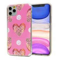 LayYun for iPhone 11 Pro Max Case, Anti-Scratch Shock-Absorption Crystal Clear Phone Cover Case with Design Embossed Floral Pattern for iPhone 11 Pro Max, 6.5 inch, 2019 (Pink Hearts)