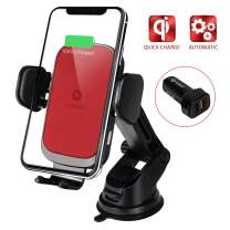 YoSpot Smart Wireless Charger Auto-Clamp Mount w/USB-C, AC Vent & Windshield Phone Holder Compatible with iPhone 11, 11 Pro/Pro MAX, Xs Max,XR,XS,X Galaxy S10,S9,S8 Note 10,9,8 w/Power Adapter (Red)