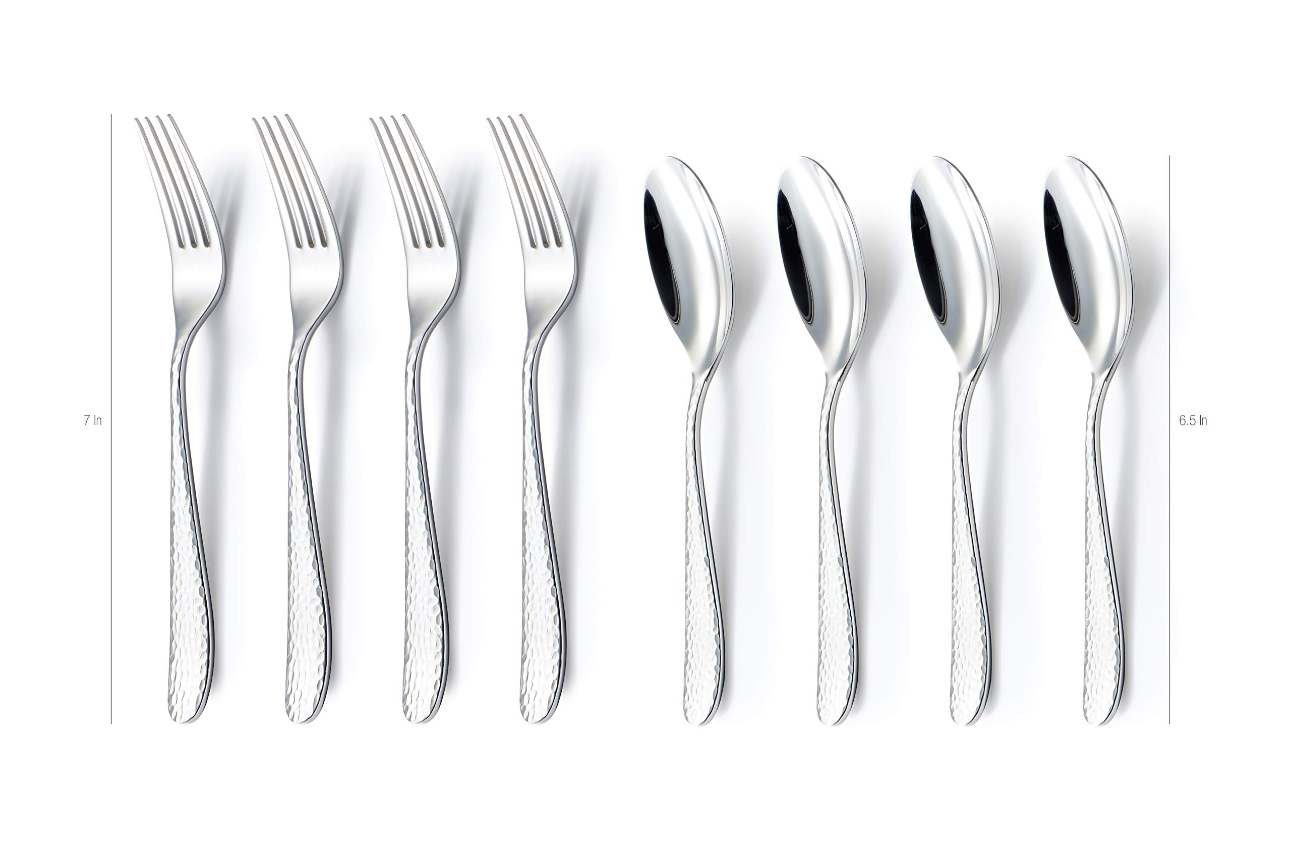 DANIALLI 8 Piece Silverware Set For 4, Include Long Teaspoon/Salad Fork, Modern Hammered Design Flatware Set, Premium Quality 18 10 Stainless Steel Silverware, Mirror-Polished Dishwasher Safe Cutlery