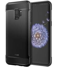 JETech Case for Samsung Galaxy S9, Protective Cover with Shock-Absorption and Carbon Fiber Design, Black