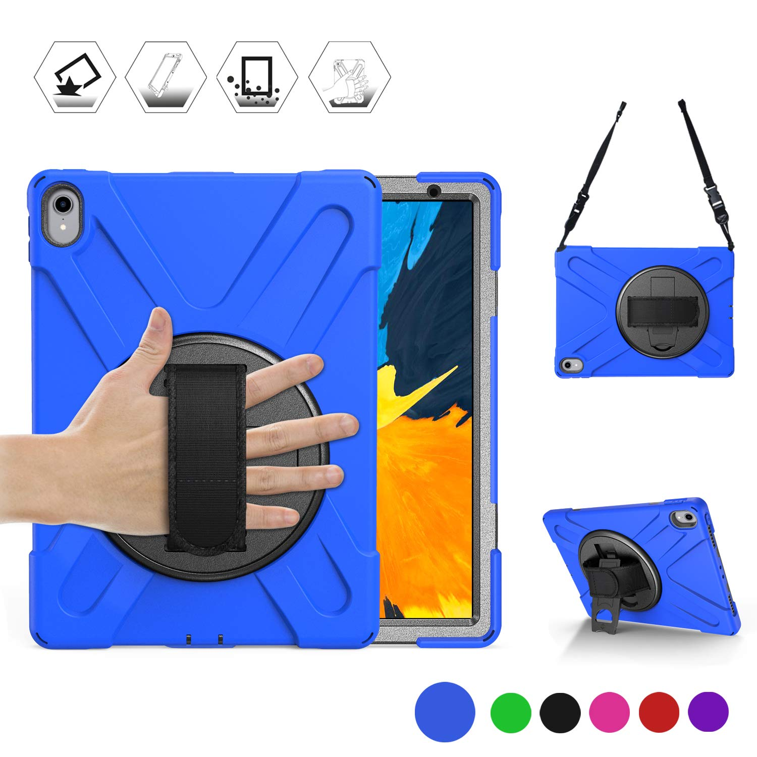 """New iPad Pro 11 Inch Case, BRAECN [Hand Strap] [Kickstand] [Carrying Strap] Heavy Duty Shockproof Case for iPad Pro 11"""" 2018 Tablet [Not Compatible with iPad Pencil Magnetic Attach Charge/Pair]-Blue"""
