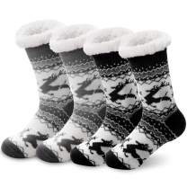 SEVENS 2 Pairs Women's Socks Winter Super Soft Cozy Fuzzy Christmas Gift Slipper Socks With Grippers