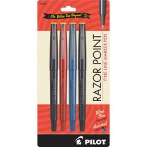 Pilot Razor Point Fine Line Marker Pens, Ultra-Fine 0.3mm Point, Black / Blue / Red, Pack of 4 (PIL 11045)