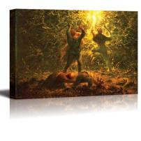 """wall26 - Hunting Birds at Night by Jean-Francois Millet - Canvas Print Wall Art Famous Painting Reproduction - 12"""" x 18"""""""
