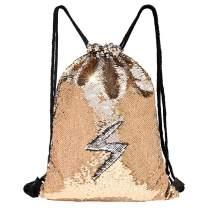 MHJY Sequin Bag Mermaid Drawstring Backpack Sports Beach Dance Bag