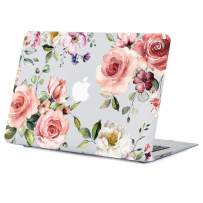 Lapac MacBook Air 13.3 Inch Case Old Version, 2010-2017 Macbook Air Case A1466/A1369 Flower Clear Case with design, Soft-Touch Hard Shell Case with Keyboard Cover, Pink Rose 13.3 inch Macbook Air Case