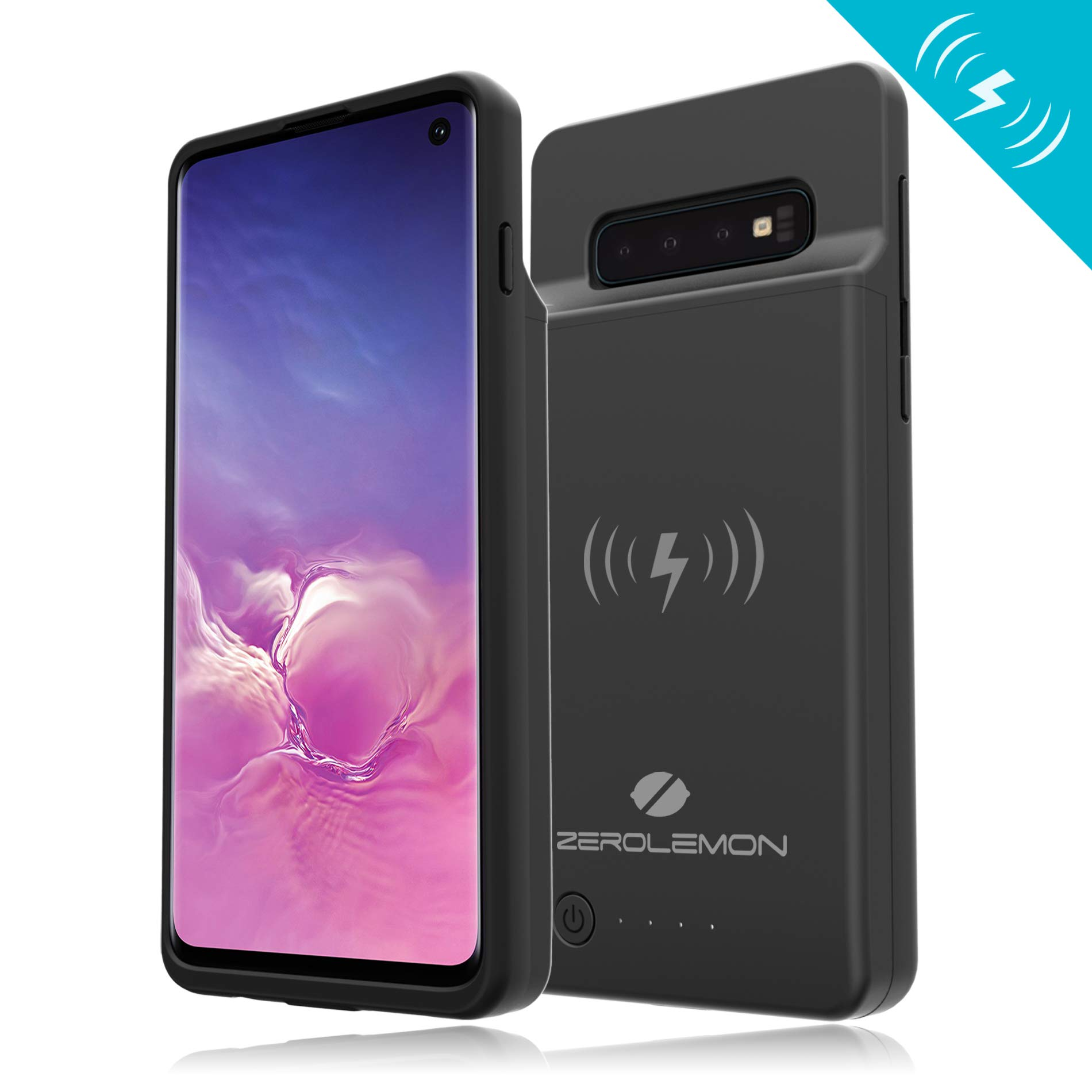 [Upgraded] Galaxy S10 Extended Battery Case with Qi Wireless Charging, ZeroLemon Slim Power 5000mAh Rechargeable Battery Charger with Full Edge Protection for Galaxy S10 - Black