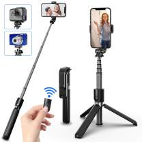 SYOSIN Bluetooth Selfie Stick Tripod, Extendable Aluminum Tripod Stand with Wireless Remote 360° Rotation Selfie Stick for iPhone 11/11 Pro Max/XS Max/XS/XR/X/8/7 Android Phone and Sports Camera GoPro