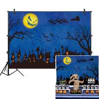 Allenjoy 7x5ft Nightmare Before Christmas Backdrop Halloween Pumpkin Moonlight Castle Children Photography Background Horrible Party Birthday Banner Baby Shower Family Home Decorations Shoot Studio