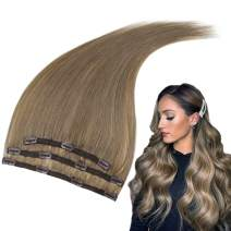 RUNATURE 12 Inches Clip in Invisible Hair Extensions Color 8 Cinnamon Brown 3Pieces (50g) Real Human Hair Extensions for Women