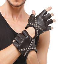 Nappaglo Men's Fingerless Gloves Lambskin Leather Half Finger Rivet Cross Belt Antiskid Driving Cycling Outdoor Gloves