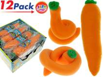 JA-RU Stretchy Carrot Sensory Toys Easter Basket Toys (13 Units) Stress Relief Toys   Fidget Toy for Kids Boys Girls and Adults. ADD, Autism Toys & Party Favors Squishy. 3342-12p