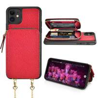 LAMEEKU iPhone 11 Wallet Case, iPhone 11 Case with Card Holder, Zipper Leather Case with Credit Card Slots Wirst Strap Crossbody Chain, Protective Cover for iPhone 11 6.1'' 2019 - Biking Red