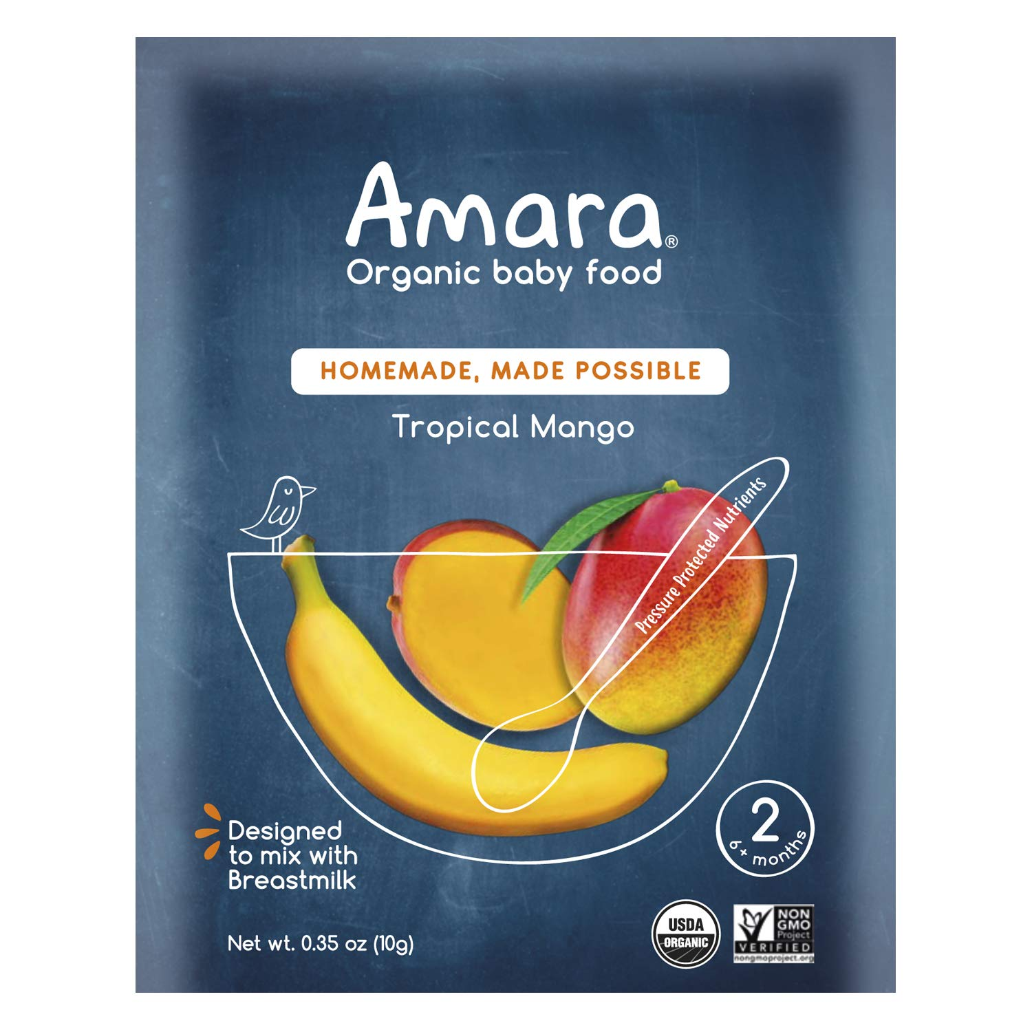 Amara Organic Baby Food | Tropical Mango | Homemade Made Possible | Mix with Breastmilk, Formula or Water | Certified Organic, Non-GMO, No Added Sugars | Stage 2 - Babies 6 Months & Older | 7 Pouches