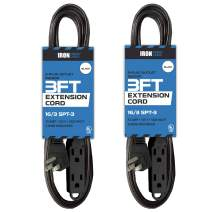 2 Pack of 3 Ft Extension Cords with 3 Electrical Power Outlets - 16/3 Durable Black Cable