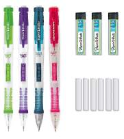 Paper Mate Clear Point Mechanical Pencil Starter Set, 0.7mm, Fashion Assorted Colors Will Vary, Pack of 6 Pencils, 6 Lead Refills, and 6 Eraser Refills (3)