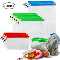 Reusable Produce Bags Washable Eco Friendly Mesh Produce Bags for Storage Fruit Vegetable-3 Various Sizes(8 x 12in, 14 x 12in, 17 x 12in) 12PCS