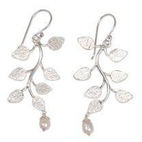 NOVICA 925 Sterling Silver and Cultured Freshwater Pearl Bridal Dangle Earrings, White Forest'