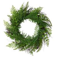 U'Artlines 20'' Artificial Greenery Front Door Wreath Fern Leaves Spring Backdrops Ornaments Garland Display for Home Wall Christmas Festival Decor(20'' Greenery)