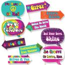 Funny 60's Hippie - 1960s Groovy Party Photo Booth Props Kit - 10 Piece