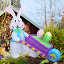 DREAM GARDEN 4 FT Easter Inflatable Decorations Party Bunny Pushing Wheelbarrow with Easter Egg Built-in LED Lights Blow Up Yard Lawn Inflatables Home Family Outside Decor